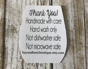 50 Care Cards / Wine Glass Care Cards / Not Dishwasher Safe Care Cards