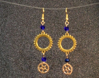 Steampunk Gear dangle earrings with cobalt glass beads