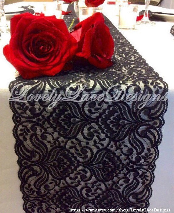 BLACK Lace Table Runner 3ft10ft x 65in Lace Table