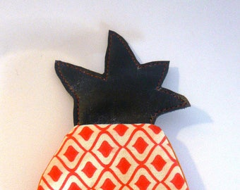 Pineapple purse orange fabric