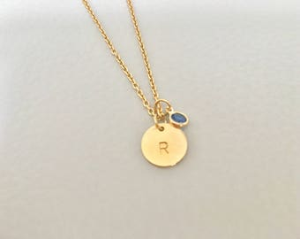 Initial  birth stone necklace, gold  initial,birth stone, circle initial necklace, initial necklace,bridesmaid gift,