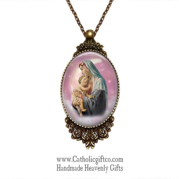 Large Catholic Pendant with the Blessed Virgin Mary and Jesus in bronze with 18 or 24 inch necklace