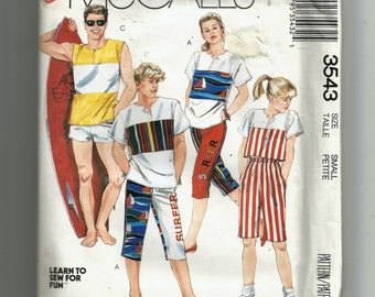 McCall's Misses' and Mens'  Top, Pants or Shorts Pattern 3543