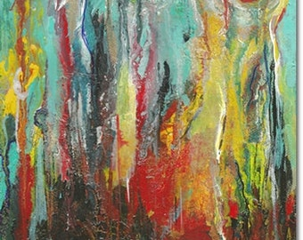 Modern Abstract Fine Art Home Decor Turquoise Gold Red Fluid Waterfall of Color Lava Flow Renewed Vigor Life Path