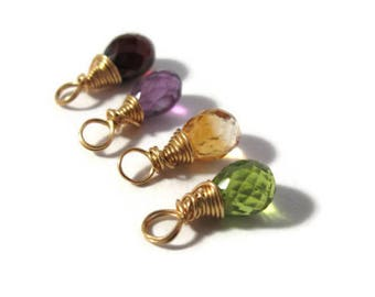 Hand Wrapped Gemstone Bead, 14/20 Gold Filled Wrapped Briolette, Gemstone Charm for Making Jewelry, 7mm x 5mm (F-17b)