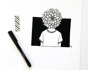 Dahlia Girl, Woman Inner Strength Art Print, Black and White Botanical Wall Decor, Gift for Wife, Girlfriend Gift