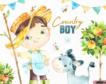 Country Boy. Watercolor farm clipart, tools, household, dog, cat, donkey, bees, apple tree, harvest, thanksgiving, bunting, cute, invites