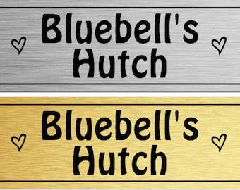 Personalised Rabbit Bunny Hamster Gerbil Metal Hutch Door Sign Plaque
