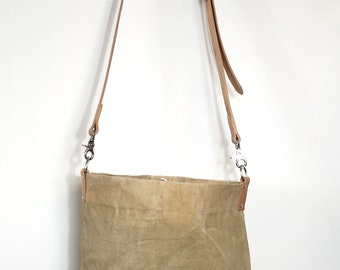 Waxed Canvas Bucket Bag - Natural - Leather Cross Body Strap