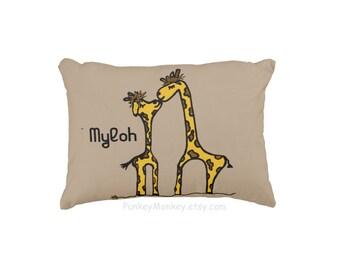 Giraffe kisses toss pillow personalized toddler kids teens adult pillow safari jungle woodland zoo animals custom pillowcase and insert