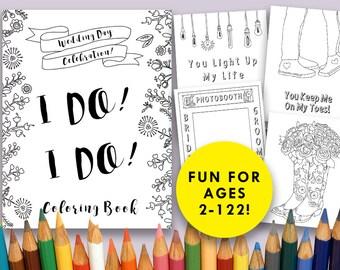 Wedding Day Coloring Book, Digital Download, Wedding Favor, Adult Coloring Book, Kids Wedding Activity, Bridal Shower, favor, personalize