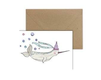 Narwhal//Happy Birthday Card//Narwhal Card//Narwhal Art//Whimsical Birthday Card//Whimsical Card//Narwhal Birthday/Narwhal Gift/Magical Card