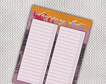 CLEARANCE! Magnetic Shopping List Note Pad - Grocery List - Orange/Pink/Purple/Black Design - 50 Sheets