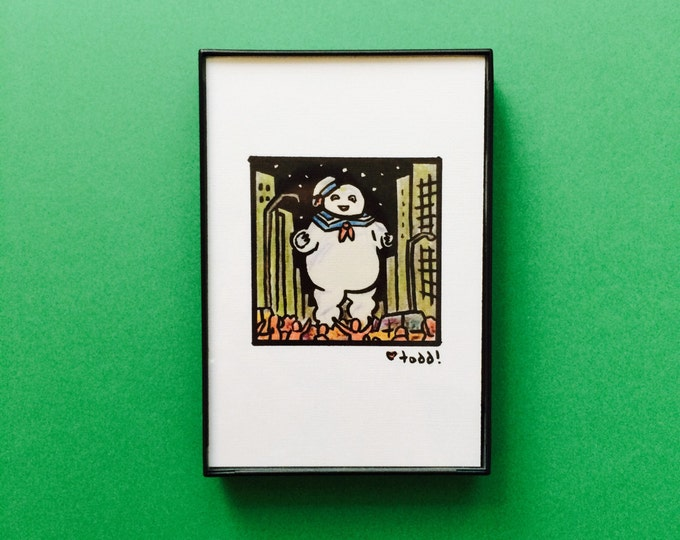 Art, Ghostbusters, 4 x 6 inch Print, ink and crayon, Stay Puft Marshmallow Man, movies