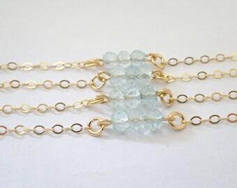 Aquamarine Bracelet, March Birthstone bracelet, Gold filled personalized bracelet, Holly trinity bracelet, Gemstone Graduation jewelry