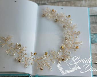 Wedding hair jewelry, pearls and crystals bridal wreath, gold hair vine