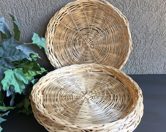 Paper Plate Holders Bamboo Woven Wicker Vintage Set 5 - #H1018