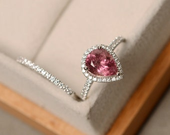 Pink tourmaline ring, pear cut, engagement ring, silver