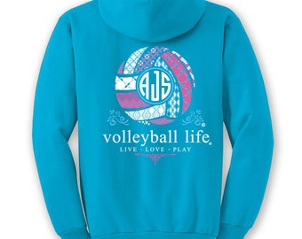 OFFICIAL TM Volleyball Life™ BLUE Custom Monogram Hoodie Volleyball Shirt Volleyball Hoodie Volleyball T VdZk451wGm