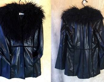 90's Black PLEATHER Faux Leather Fur Trimmed Goth Collar Club Kid Raver Jacket