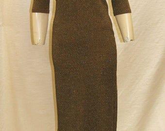 Vintage PACO RABONNE Bronze Metallic Wiggle Dress Size Small