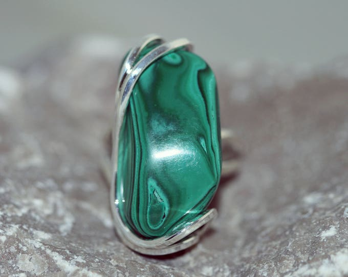 Substantial Malachite Ring fitted in sterling silver setting. Handmade & unique.