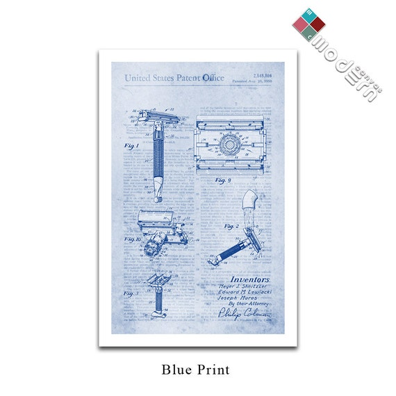 Vintage safety razor patent art blueprint design giclee on vintage safety razor patent art blueprint design giclee on archival matte paper malvernweather Image collections