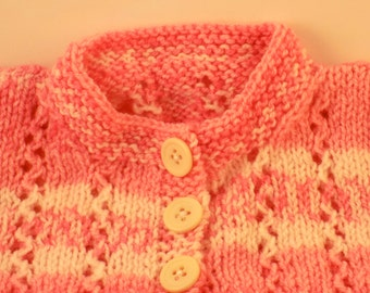 Pink and white lacy hand knit sweater for baby/infant