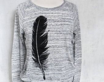 Graphic Sweatshirt for Women, Feather Lightweight Sweatshirt, Cute Gift for Her, Grey Sweatshirt, Bird Sweatshirt, Ladies Sweatshirt