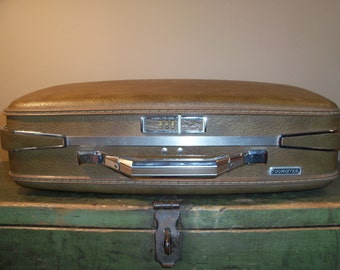 Vintage Suitcase Travel Luggage American Tourister Olive Green Brown Display Prop