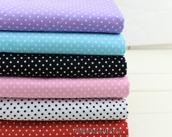 Pastel Fabric with White Polka Dot Cotton Fabric Light Blue Purple Pink Black Red White Dots Fabric-  1/2 yard