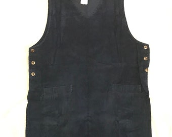 Women's Vintage 90s Grunge Navy Blue Corduroy Jumper Dress Size Large