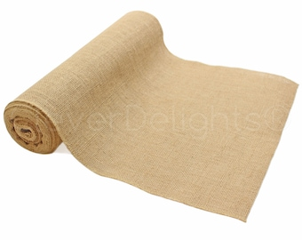 """10 Yards - 14"""" Premium Burlap Roll - Finished Edges - Eco-Friendly Natural Jute Burlap Fabric - For 14 Inch Table Runners & Rustic Decor"""