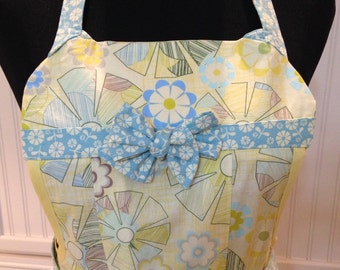 Womens full apron Clara Bow Full Apron Aqua Yellow womens full apron long apron sew chic apron pleated apron aqua apron yellow print apron