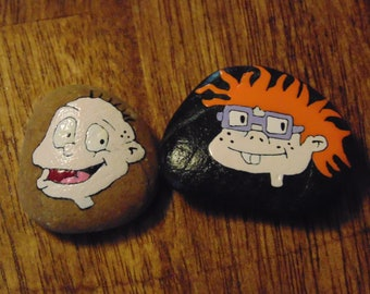 Set of Two Tommy Pickles and Chuckie Worry Rocks Rugrats Good Luck Rocks Nicktoons Cartoons