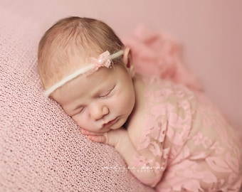 Stretch Lace Wrap Sweet Pink Newborn Photography Prop Baby Swaddle