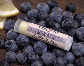 Lip Balm Natural LEMON BERRY with Organic Blueberry .15 oz Berry stocking stuffer
