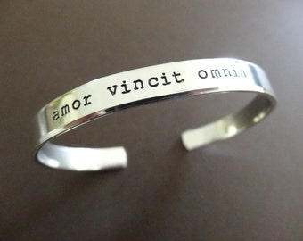 Amor Vincit Omnia Cuff Bracelet - Latin Jewelry - Love Conquers All - Hand Stamped Custom Bracelet