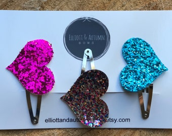 Hair clip, handmade hair clip, heart hair clip, heart barrette, hair barrette, barrette, glitter heart, glitter barrette, toddler barrette