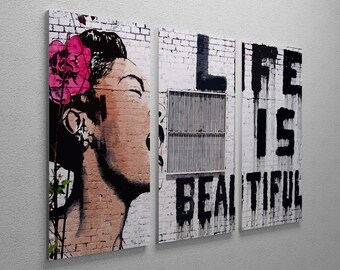 READY to HANG!!! 3 pcs BANKSY Life is beautiful!! . 3 pcs Triptych  Canvas Giclee Prints Street Art Graffiti Various Sizes