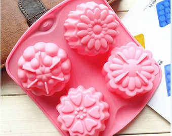4-cavity Flower Cake Mold Mould Silicone Mold Biscuit Mold Chocolate Mold Soap Mold