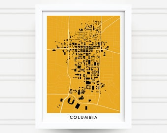 COLUMBIA MISSOURI Map Print - Home Decor - Office Decor - Columbia Artwork - Poster - Wall Art - Mizzou Gift - University of Missouri Gift