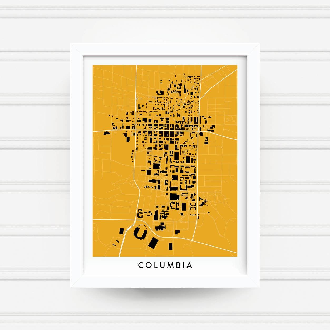 COLUMBIA MISSOURI Map Print Home Decor Office Decor