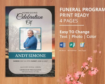 Printable Funeral program template memorial obituary