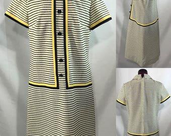 1960's | R&K Knits | white/black/yellow knit dress