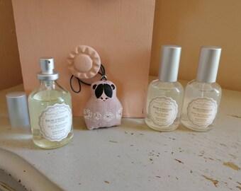 Poupettes à parfumer lin rose peint de roses - seule ou avec brume d'oreiller, cinq parfums au choix