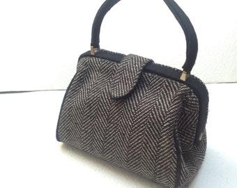Vtg 80s Tweed Wool Handbag / Mini Gladestone Bag/Winter Fashion