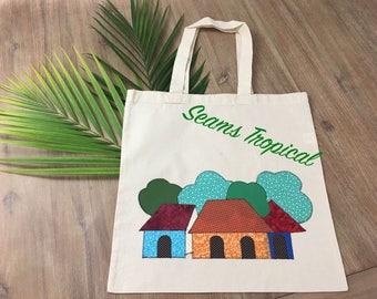 Village Scene Appliqué Canvas Tote Bag-Library, Beach Bag Groceries