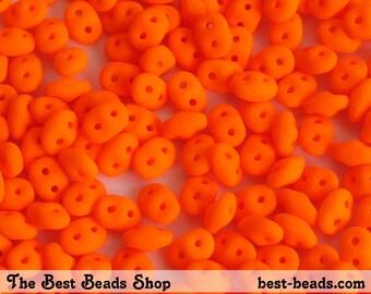 20g (240pcs) Neon Orange Super Duo Czech Glass Seed Beads 5x2.5mm UV Active