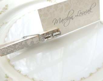 WEDDING CLOTHESPINS Silver Place Card Holders Decorative Clothes Pin Rhinestone Bling Wedding Placecard Holder Floral Wood Party Favors